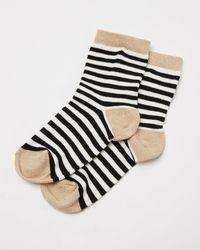 Oliver Bonas Striped Black & White Ankle Socks