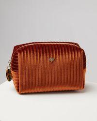 Oliver Bonas Pleated Velvet Bee Burnt Orange Makeup Bag Small