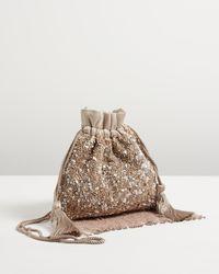 Oliver Bonas Blige Sequin Drawstring Clutch Bag - Brown