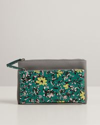 Oliver Bonas Rosa Green Floral Print Zipped Pouch