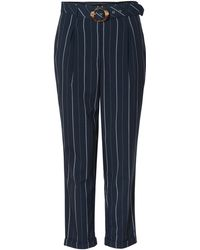 Oliver Bonas - Stripe Tie Front Navy Trousers - Lyst