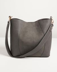 Oliver Bonas Maci Patched Texture Gray Tote Bag