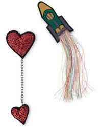 Oliver Bonas - Love You To The Moon Embroidered Brooch - Lyst
