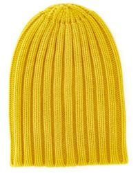 Laneus Yellow Ribbed Cashmere Beanie Hat
