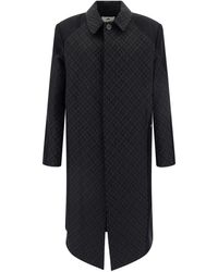 Marine Serre Black/grey Recycled Polyester-wool Blend Coat