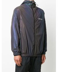 Marcelo Burlon Iridescent Lightweight Hooded Jacket - Black
