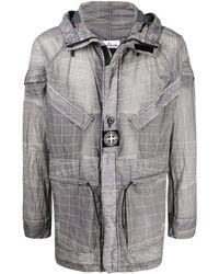 Stone Island Abstract-print Hooded Lightweight Jacket - Grey