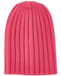 Laneus Pink Ribbed Cashmere Beanie Hat