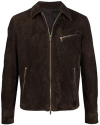 AJMONE Cafe Brown Calf Leather Suede Leather Jacket