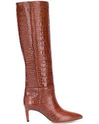 Paris Texas Crocodile-effect Leather Boots - Brown