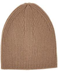Laneus Black Cashmere Ribbed Beanie Hat - Brown