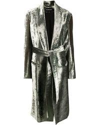 Ann Demeulemeester Belted Velvet Coat - Green