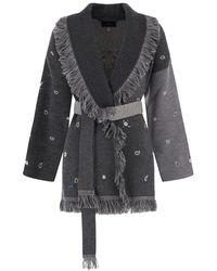 Alanui Grey Wool With Embroidered Jacquard Pattern Sweatshirt