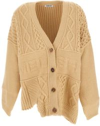 Ambush Beige Patchwork-knit Logo-detail Cardigan - Natural