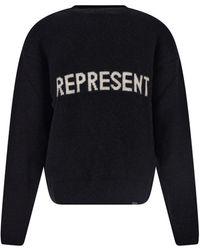 Represent Black Logo Print Sweatshirt