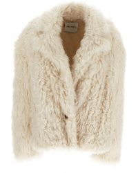 The Attico White Single-breasted Faux Shearling Jacket