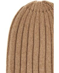 Laneus Light Brown Ribbed Cashmere Beanie Hat