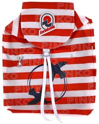 Pinko Packable Striped Backpack - Red