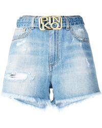 Pinko Belted Denim Shorts - Blue