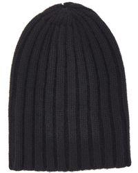 Laneus Black Ribbed Cashmere Beanie Hat