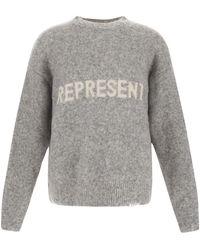 Represent Grey Melange Print Sweatshirt