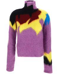 Loewe Multicolour Turtle Neck Knitwear . - Purple