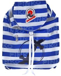 Pinko Backpack In White And Blue Polyester