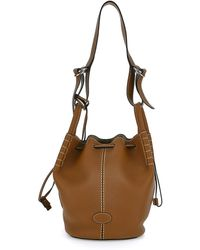 Tod's Bucket Bag In Leather Mudium With Drawstring Closure - Brown