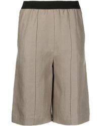 Loulou Studio Elasticated-waist Knee-length Shorts - Natural