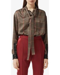 Burberry Houndstooth Pussy-bow Blouse - Brown