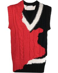 Alexander McQueen Intarsia Cable-knit Vest - Red