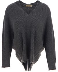 Gentry Portofino Grey Knit In Cashmere With V-neck And Long Sleeves