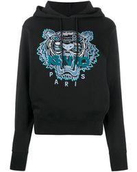 KENZO Black Cotton Tiger Logo Hoodie