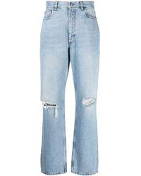 Etro Ripped-knee Straight-leg Jeans - Blue