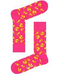 Happy Socks Weiße Socken Pizza Sock - Pink