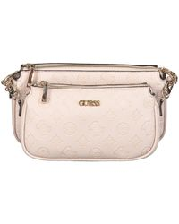 Guess Roze Schoudertas Dayane Double Pouch Crossbody - Naturel