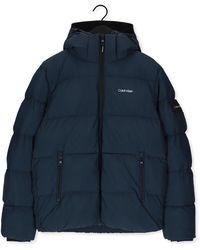 Calvin Klein Blauwe Gewatteerde Jas Crinkle Nylon Puffa Jacket