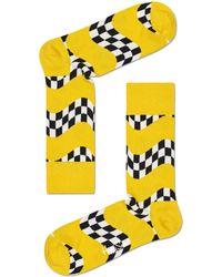 Happy Socks Weiße Socken Race Sock - Gelb