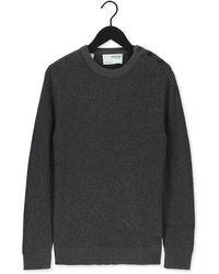 SELECTED Grijze Trui Slhirven Ls Knit Button Crew W - Meerkleurig