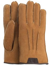 UGG Cognac Handschoenen Casual Glove With Leather Logo - Bruin