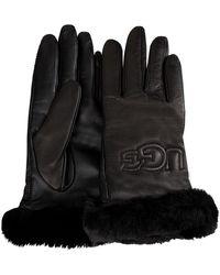 UGG Zwarte Handschoenen Classic Leather Logo Glove