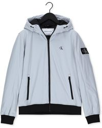 Calvin Klein Grijze Gewatteerde Jas Hooded Padded Harrington Jacke - Grijs