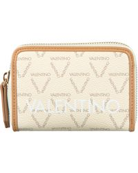 Valentino Beige Portemonnee Liuto Zip Around Wallet - Naturel