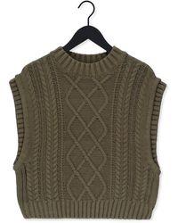 SELECTED Groene Trui Slfpiper Knit Vest M - Meerkleurig