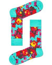 Happy Socks Socken Flower - Schwarz