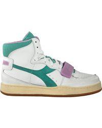 Diadora Witte Hoge Sneaker Mi Basket Used Wn