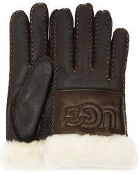 UGG Schwarze Handschuhe Sheepskin Logo Glove