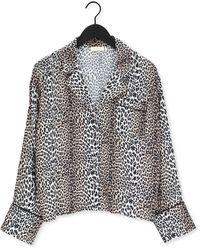 Notes Du Nord Beige Blouse Alicia Leopard Shirt - Zwart