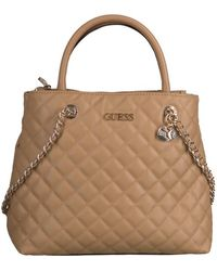 Guess Beige Schoudertas Illy Society Satchel - Naturel