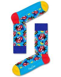 Happy Socks Blauwe Sokken Rolling Stones